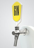 A slick modern white and chrome draught gin tap on an isolated white studio background - 3D render