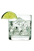 """Subject: A gin and tonic with ice, garnished with a slice of lime. Isolated on a white background."""