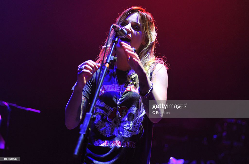 Gin Wigmore performs on stage at Hammersmith Apollo on February 22, 2013 in London, England.