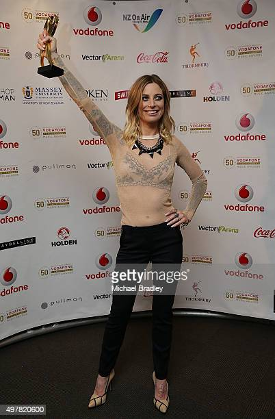 Gin Wigmore wins Best Female Solo Artist at the Vodafone New Zealand Music Awards Vector Arena on November 19 2015 in Auckland New Zealand