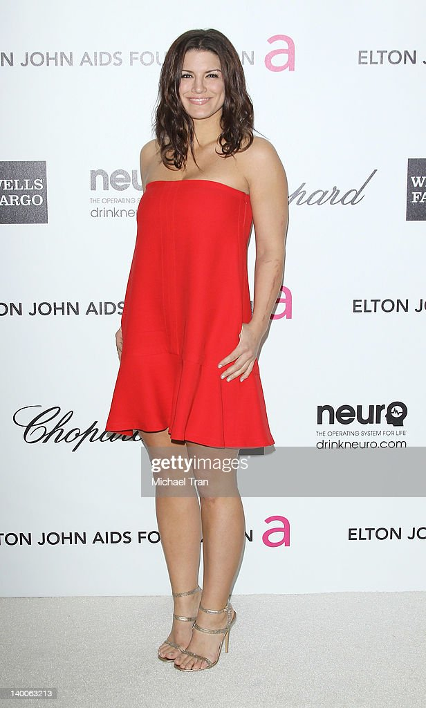Gina Carano arrives at the 20th Annual Elton John AIDS Foundation Academy Awards viewing party held across the street from the Pacific Design Center on February 26, 2012 in West Hollywood, California.