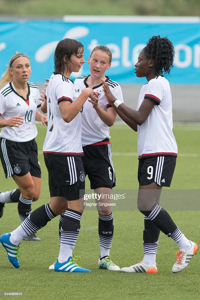 Gina Chmielinski, Lena Sophie Oberdorf, Sophie Riepl and Nicole Anyomi of Germany celebrate after scoring during the Nordic Cup game between U16 Girl's Germany v U16 Girl's Sweden on July 1, 2016 in Rade, Norway.