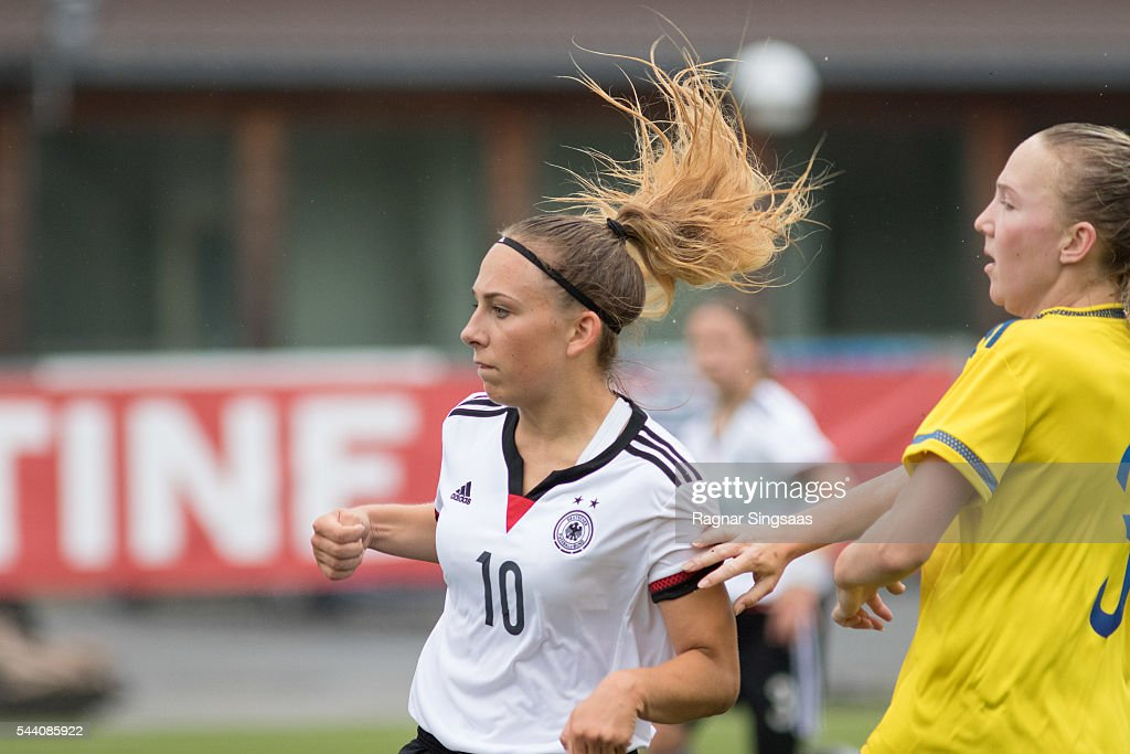 Gina Chmielinski of Germany scores during the Nordic Cup game between U16 Girl's Germany v U16 Girl's Sweden on July 1, 2016 in Rade, Norway.