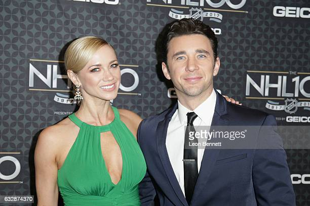Gina Comparetto and actor Billy Flynn arrive at the NHL 100 presented by GEICO Red Carpet as part of the 2017 NHL AllStar Weekend at the Microsoft...