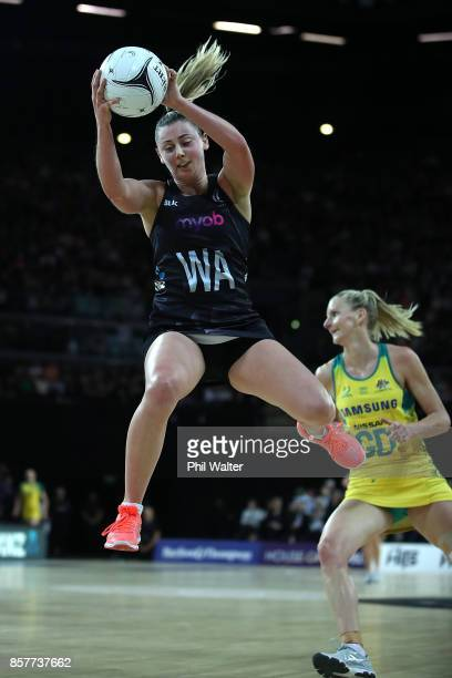 Gina Crampton of New Zealand takes a pass during the 2017 Constellation Cup match between the New Zealand Silver Ferns and the Australia Diamonds at...