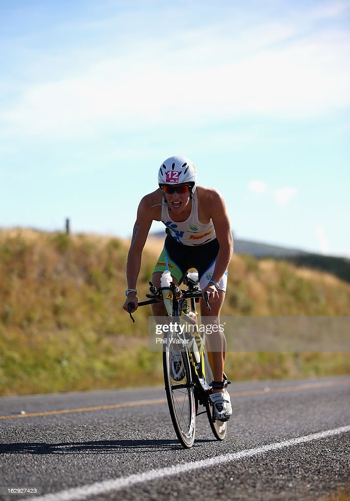 Gina Crawford of New Zealand cycles during the New Zealand Ironman on March 2, 2013 in Taupo, New Zealand.