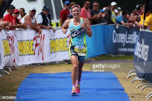 Gina Crawford on her way to winning the Port of Tauranga Half Ironman on January 10 2015 in Tauranga New Zealand
