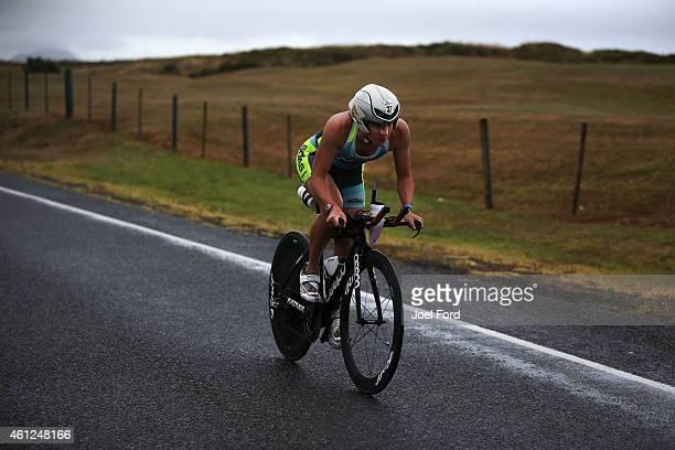 Gina Crawford on the bike leg of the Port of Tauranga Half Ironman on January 10 2015 in Tauranga New Zealand