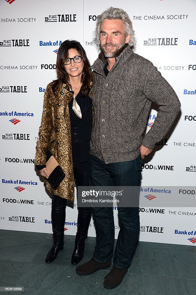 Gina Gershon and Bobby Dekeyser attend Magnolia Pictures And Participant Media With The Cinema Society Present A Screening Of 'A Place At The Table' at MOMA - Celeste Bartos Theater on February 27, 2013 in New York City.