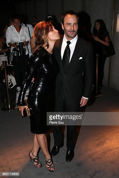 Gina Gershon and Tom Ford attend the presentation of the Tom Ford Fall Winter 2017 collection on September 7 2016 in New York City
