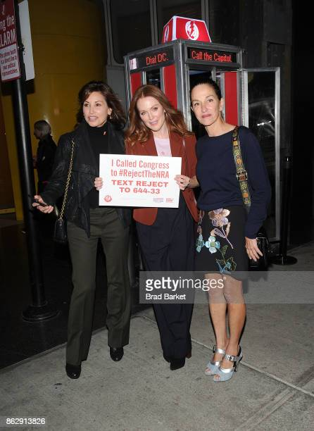 Gina Gershon Julianne Moore and Cynthia Rowley attend #RejectTheNRA Campaign Launch the at The Standard High Line on October 18 2017 in New York City