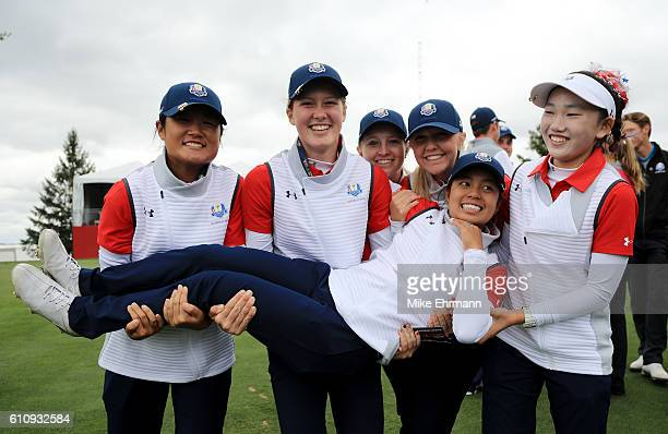 Gina Kim Emilia Migliaccio Kaitlyn Papp Hailee Cooper Lucy Li and Alyaa Abdulghany of the United States pose during the Junior Ryder Cup Friendship...