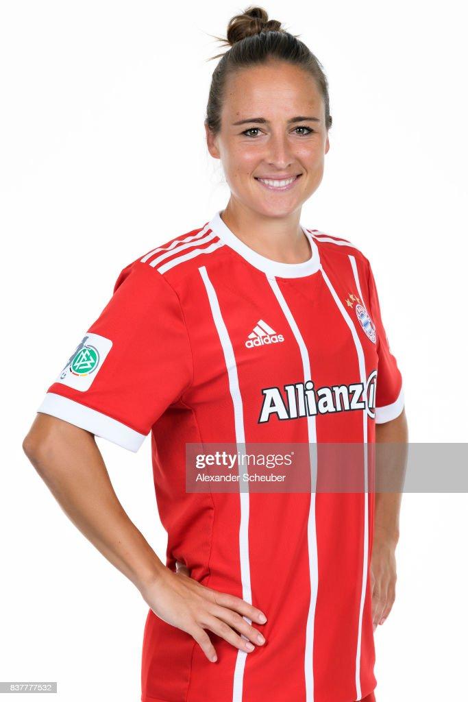 Gina Lewandowski of Bayern Muenchen poses during the Allianz Frauen Bundesliga Club Tour at FC Bayern Muenchen Campus on August 20, 2017 in Munich, Germany.