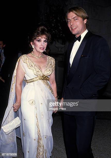Gina Lollobrigida and Page Six columnist Richard Johnson attend the Annual Costume Institute Exhibition Gala 'From Queen to Empress Victorian Dress...