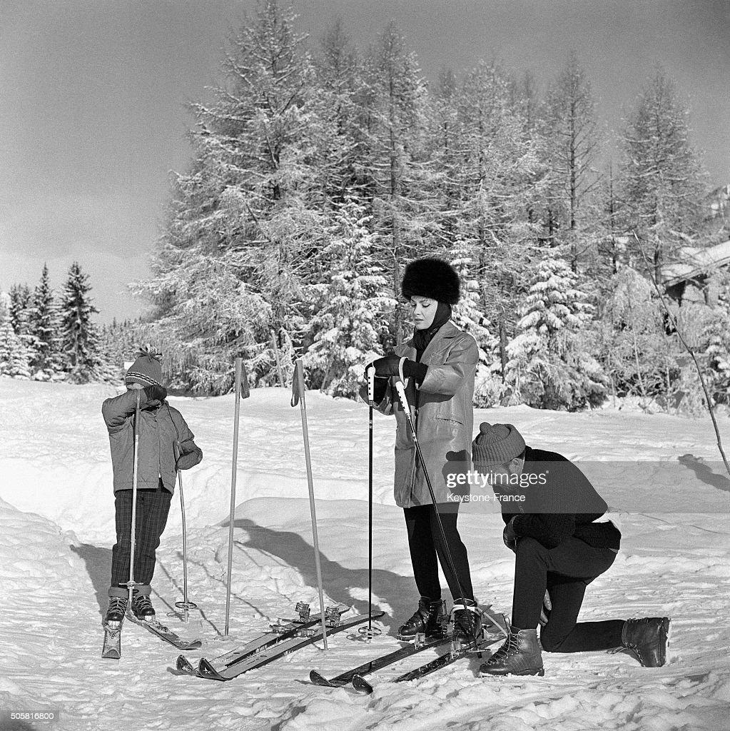 Gina Lollobrigida Skiing With Son Milko Skofic Jr In Cranssur Sierre in CransMontana Switzerland on January 16 1963