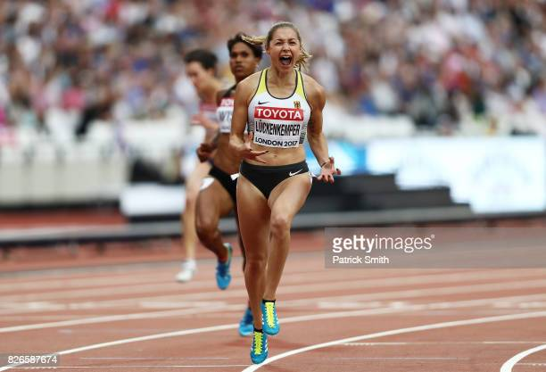 Gina Luckenkemper of Germany celebrates in the Women's 100 metres heats during day two of the 16th IAAF World Athletics Championships London 2017 at...