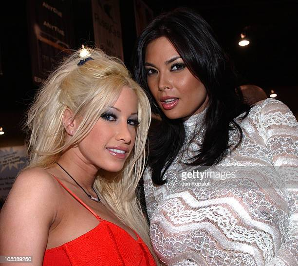 Gina Lynn and Tera Patrick Adult Film Stars during Internext Las Vegas 2005 at Mandalay Bay Hotel Convention Center in Las Vegas Nevada United States