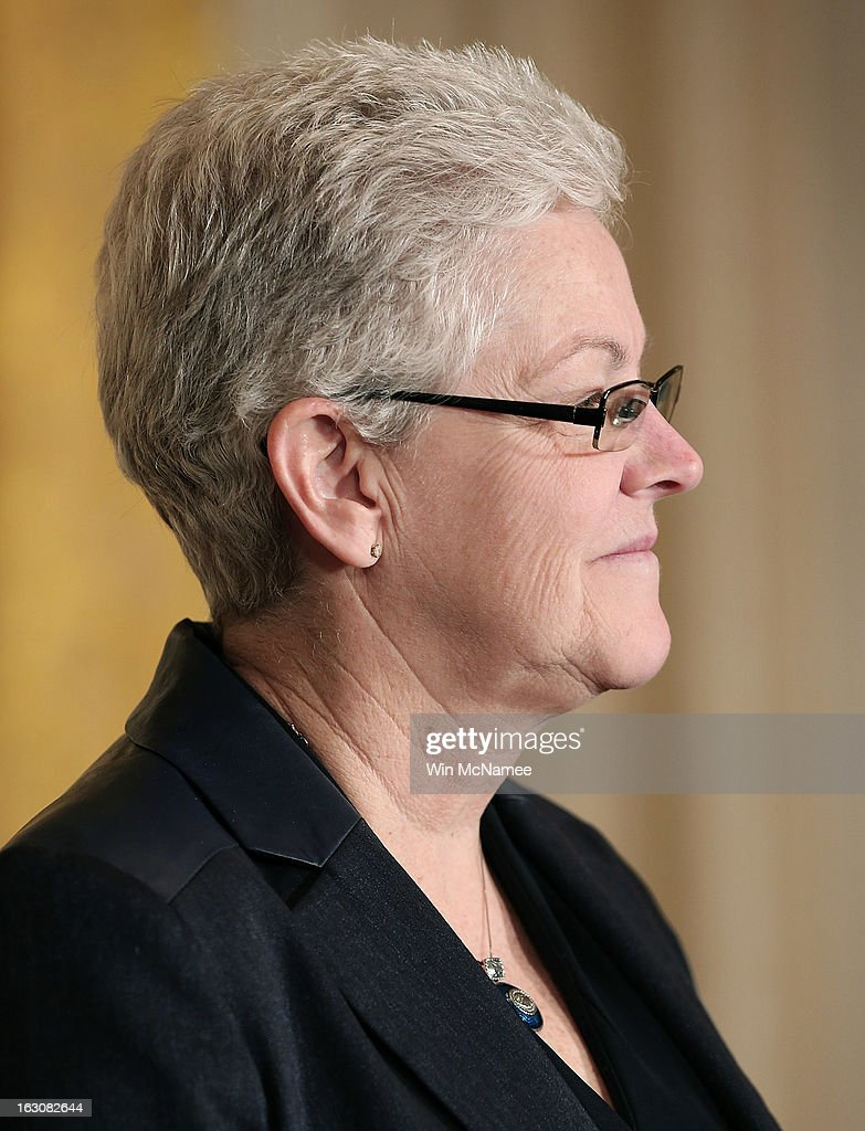<a gi-track='captionPersonalityLinkClicked' href=/galleries/search?phrase=Gina+McCarthy&family=editorial&specificpeople=7904226 ng-click='$event.stopPropagation()'>Gina McCarthy</a> listens as U.S. President Barack Obama announces her nomination as head of the Environmental Protection Agency during a ceremony in the East Room of the White House March 4, 2013 in Washington, DC. The nominations will be key appointments for Obama's second term while focusing on the issues of the national budget as well as energy and climate issues.