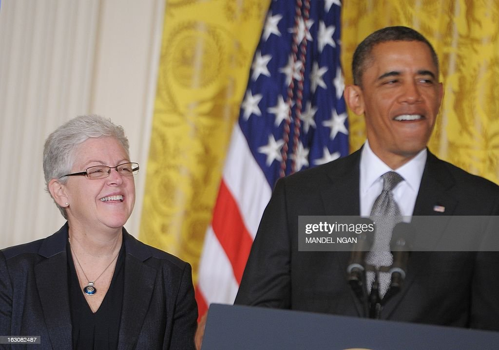 Gina McCarthy smiles during her nomination by US President <a gi-track='captionPersonalityLinkClicked' href=/galleries/search?phrase=Barack+Obama&family=editorial&specificpeople=203260 ng-click='$event.stopPropagation()'>Barack Obama</a> to run the Environmental Protection Agency on March 4, 2013 in the East Room of the White House in Washington, DC. AFP PHOTO/Mandel NGAN