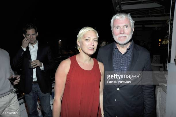 Gina Nani and Glenn O'Brien attend Euan Rellie and Olaf Breuning host Gilt Groupe Dinner at Basel Miami at Soho Beach House on December 3 2010 in...
