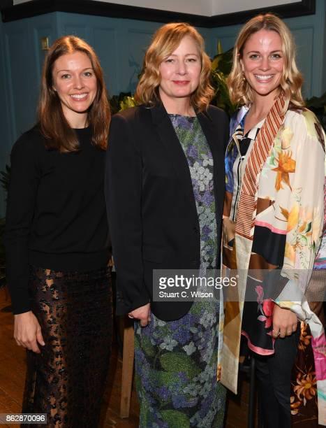 Gina Richie director of buying Liberty Sarah Mower and Alexandra Gordon womenswear buyer at Liberty at the launch of Liberty London's emerging...