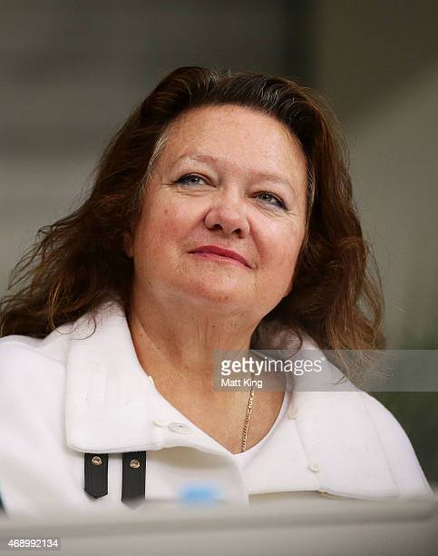 Gina Rinehart attends day seven of the Australian National Swimming Championships at Sydney Olympic Park Aquatic Centre on April 9 2015 in Sydney...