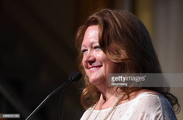 Gina Rinehart billionaire and chairman of Hancock Prospecting Pty reacts during the International Mining And Resources Conference in Melbourne...
