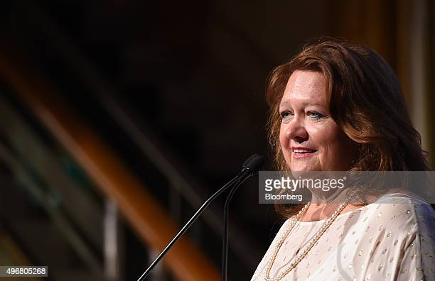 Gina Rinehart billionaire and chairman of Hancock Prospecting Pty speaks during the International Mining And Resources Conference in Melbourne...