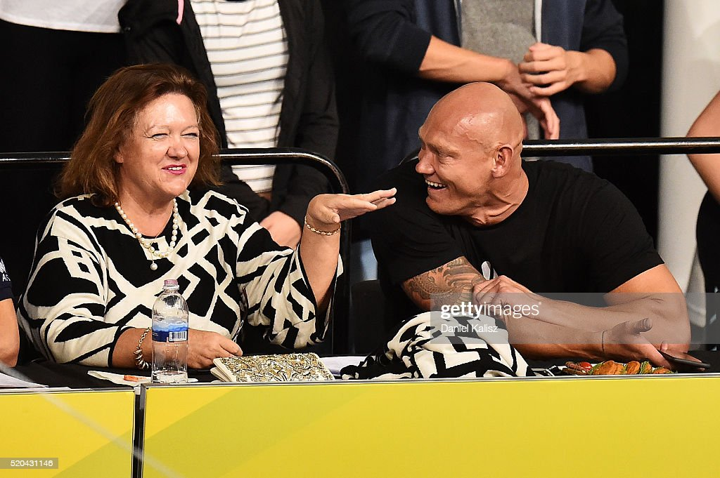 <a gi-track='captionPersonalityLinkClicked' href=/galleries/search?phrase=Gina+Rinehart&family=editorial&specificpeople=6657657 ng-click='$event.stopPropagation()'>Gina Rinehart</a> speaks to <a gi-track='captionPersonalityLinkClicked' href=/galleries/search?phrase=Michael+Klim&family=editorial&specificpeople=161394 ng-click='$event.stopPropagation()'>Michael Klim</a> during day five of the Australian Swimming Championships at the South Australian Aquatic & Leisure Centre on April 11, 2016 in Adelaide, Australia.