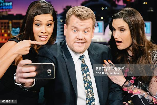 Gina Rodriguez and Idina Menzel chat with James Corden during 'The Late Late Show with James Corden' Monday November 14 2016 On The CBS Television...