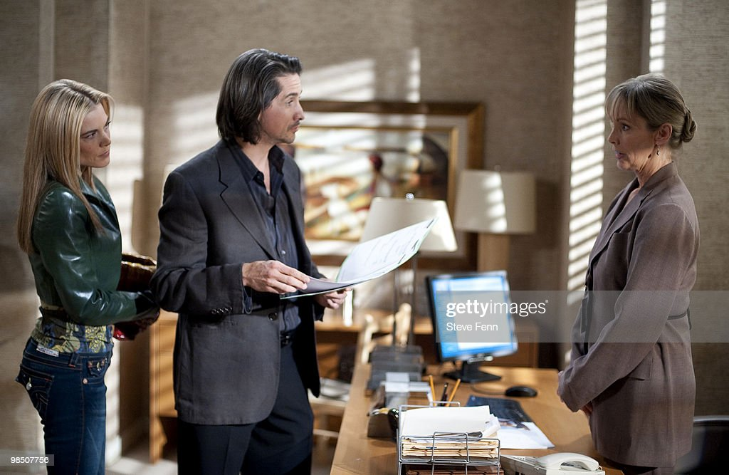 LIVE - Gina Tognoni (Kelly), Michael Easton (John) and Colleen Fitzpatrick (Mrs. Stevens) in a scene that begins airing the week of April 12, 2010 on ABC Daytime's 'One Life to Live.' 'One Life to Live' airs Monday-Friday (2:00 p.m. - 3:00 p.m., ET) on the ABC Television Network. OLTL10 (Photo by Steve Fenn/ABC via Getty Images) GINA