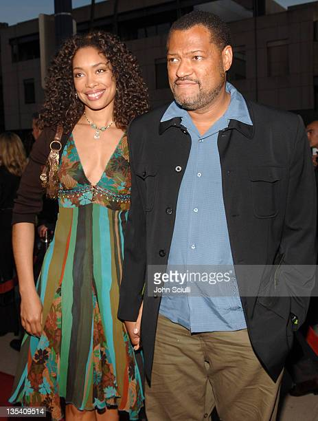 Gina Torres and Laurence Fishburne during 'Akeelah and the Bee' Los Angeles Premiere Red Carpet at The Academy of Motion Picture Arts and Sciences in...