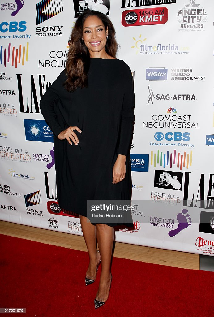 Gina Torres attends the 12th annual La Femme International Film Festival closing ceremony at The Los Angeles Theatre Center on October 23, 2016 in Los Angeles, California.