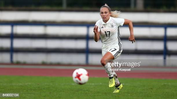 GinaMaria Chmielinski of Germany runs with the ball during the UEFA Under19 Women's Euro Qualifier match between Germany and Iceland at Stadium Wedau...