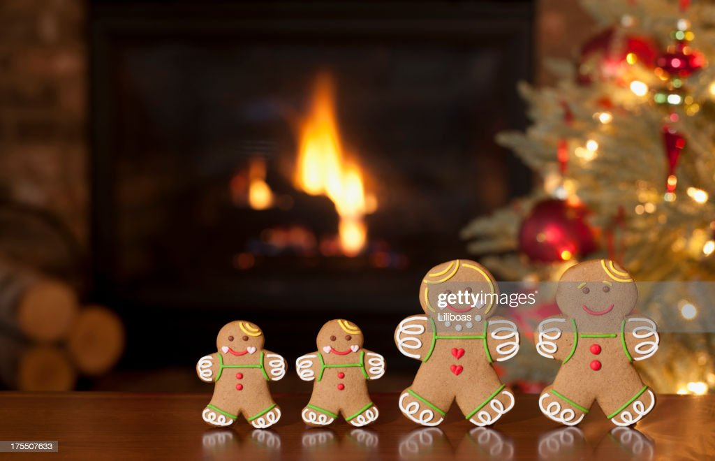 Ginberbread Family in front of the Fireplace