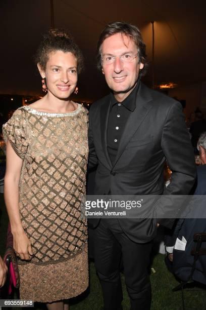 Ginevra Elkann and Pietro Beccari attend McKim Medal Gala at Villa Aurelia on June 7 2017 in Rome Italy
