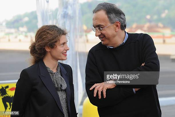 Ginevra Elkann and Sergio Marchionne attend during the 'Eni' Opening Exhibition at the Pinacoteca Agnelli on April 20 2011 in Turin Italy
