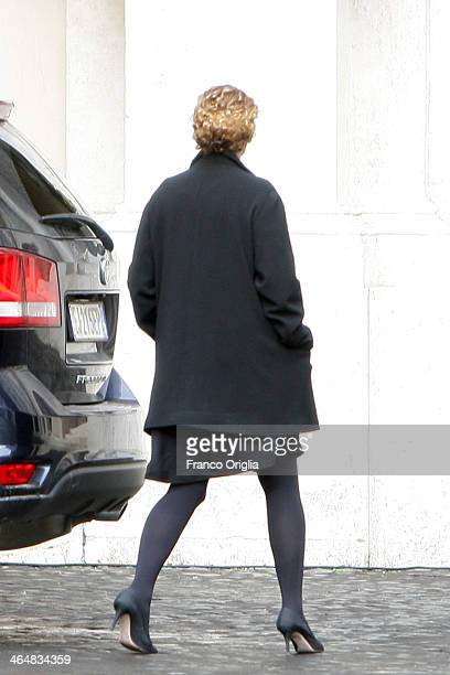 Ginevra Elkann arrives at the Palazzo Apostolico in the Cortile di San Damaso as media personalities arrive In Vatican ahead of their meeting with...