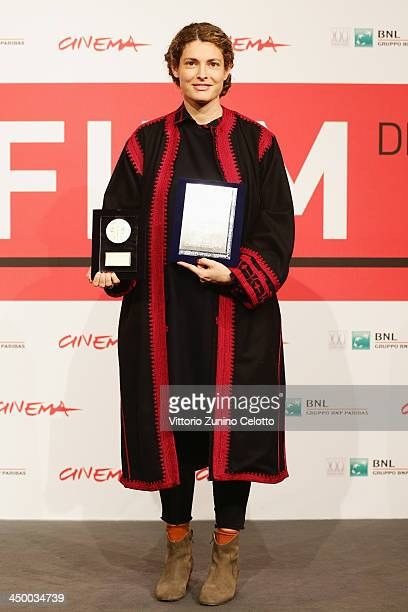 Ginevra Elkann poses with the awards for Farfalla d'oro Prize – Agiscuola and the AIC Prize for Best Cinematography for 'Dallas Buyers Club' on...