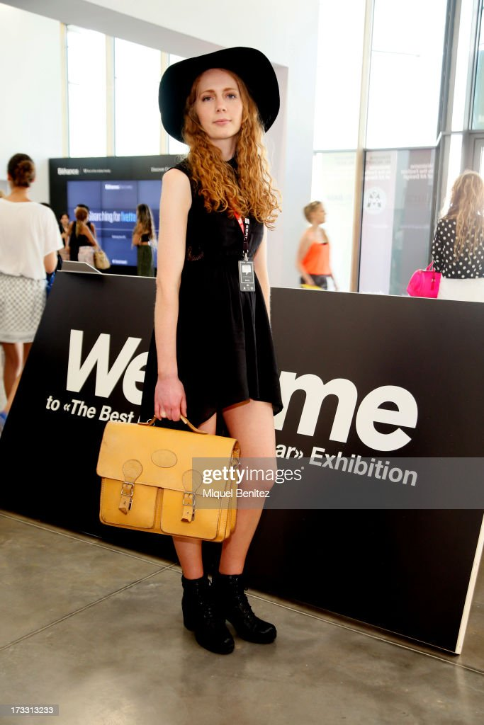 Ginger Clark, Junior Fashion Editor form London wears: an American Apparel hat, an Asos dress, Urban Outfitters shoes and a vintage bag at the 080 Barcelona Fashion Week Spring/Summer 2014 on July 11, 2013 in Barcelona, Spain.