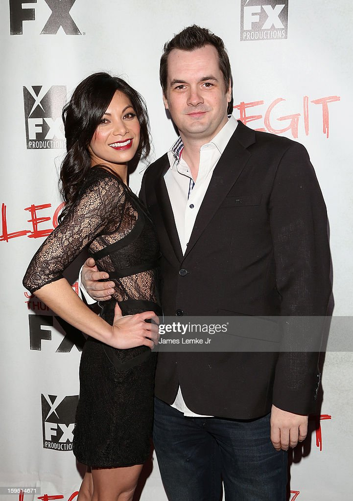 Ginger Gonzaga and Jim Jefferies attend the FX's New Comedy Series 'Legit' Premiere Screening held at the Fox Studio Lot on January 14, 2013 in Century City, California.
