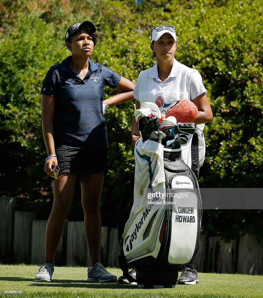 Ginger Howard (L) waits to play during the first round of the Cambia Portland Classic held at Columbia Edgewater Country Club on June 30, 2016 in Portland, Oregon.