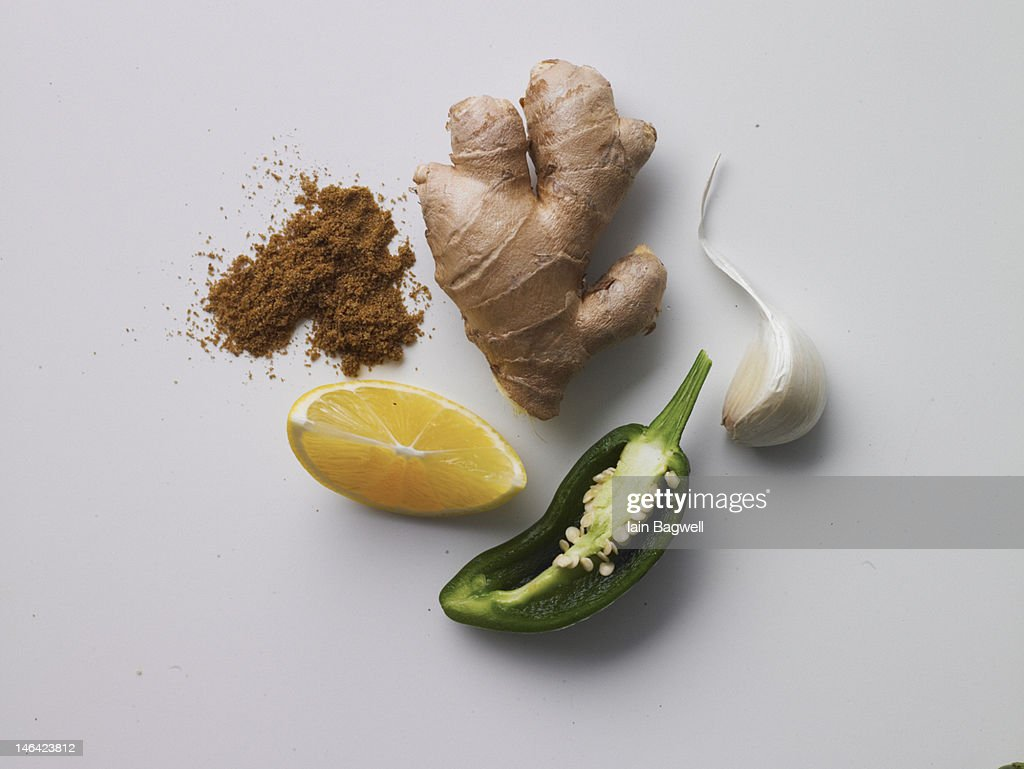ginger, jalepeno, lemon, garlic clove, cumin : Stock Photo