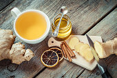 Ginger on cutting board, jar of honey, tea cup on kitchen table. Top view.