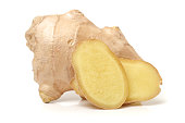 Whole and sliced ginger