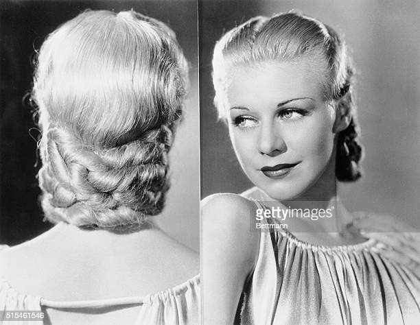 Ginger Rogers blonde and beautiful dancing star of the movies shows the 'Golden Plaque' an appropriate name for her new coiffeur The styling of her...