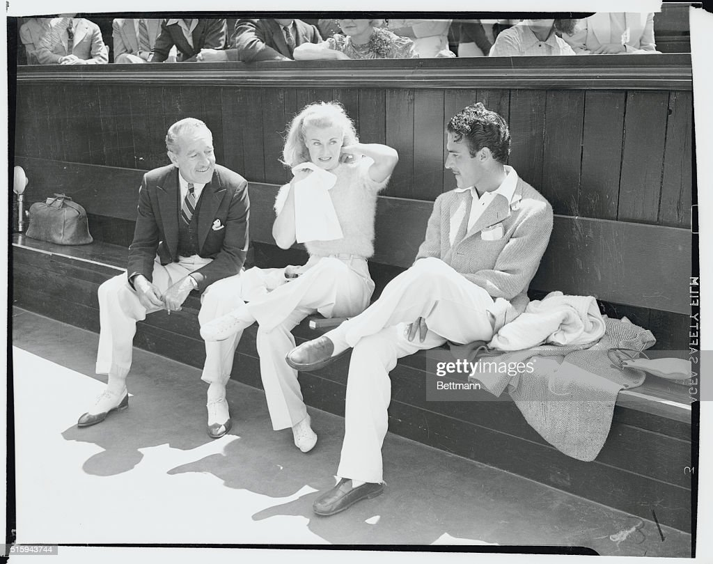 Ginger Rogers film actress was leading lady in the 13th annual Motion Picture Tennis championships Ginger and her partner Solly Baiano defeated actor...