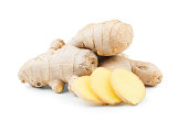 Ginger root isolated on white background as package design