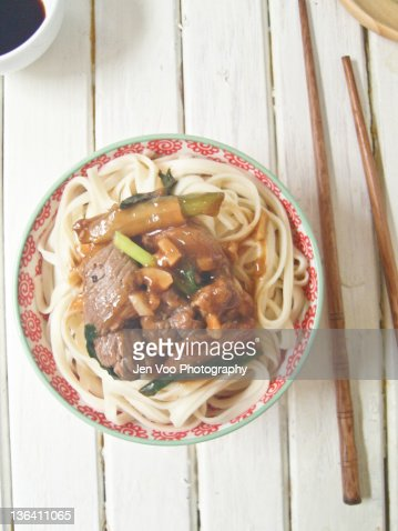 Ginger scallion (green onion) beef noodles : Stock Photo