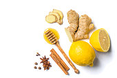Ginger tea and ingredients isolated on white background